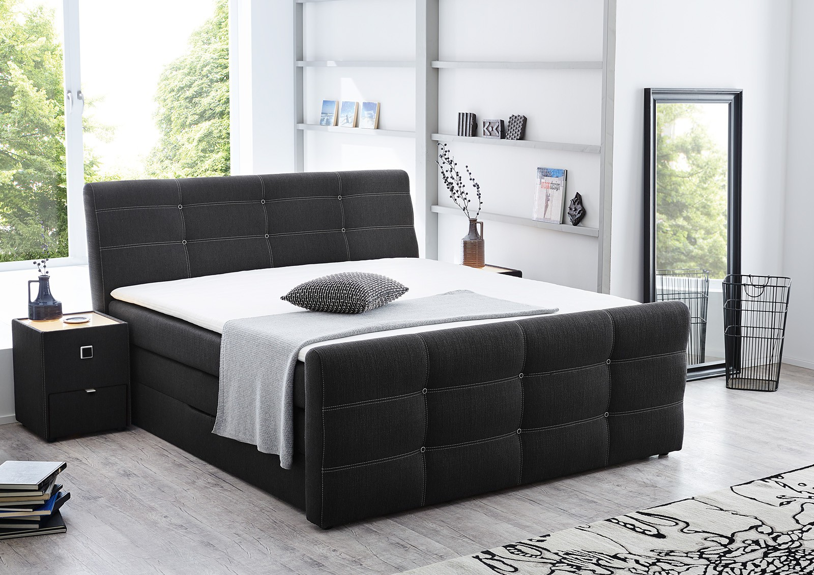 boxspringbett cary 180x200 cm grau hotelbett mit. Black Bedroom Furniture Sets. Home Design Ideas