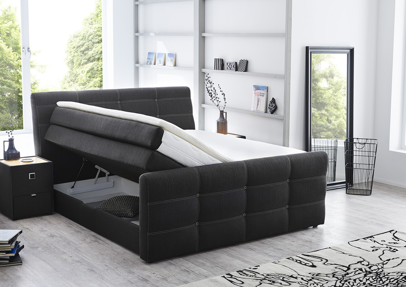 boxspringbett cary 180x200 cm grau hotelbett mit komforth he mit bettkasten ebay. Black Bedroom Furniture Sets. Home Design Ideas
