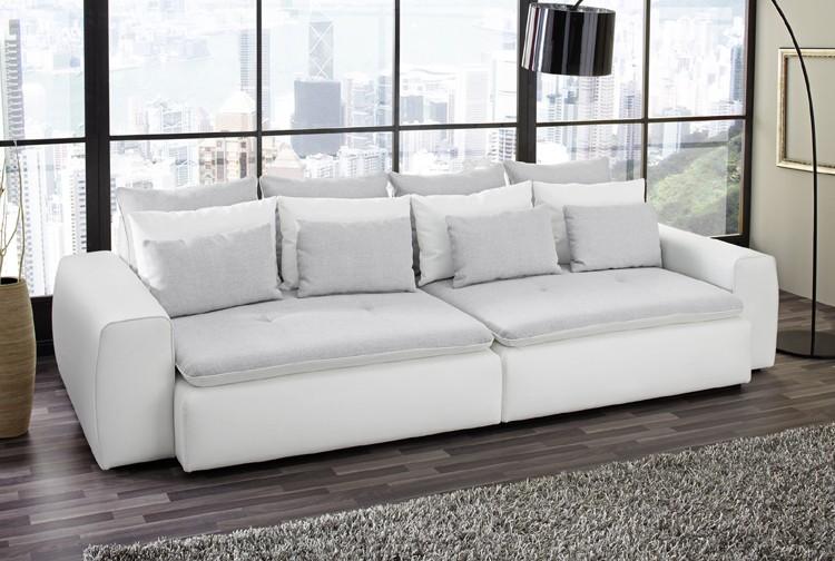 sofa migano wei grau big xxl sofa polstergarnitur by. Black Bedroom Furniture Sets. Home Design Ideas