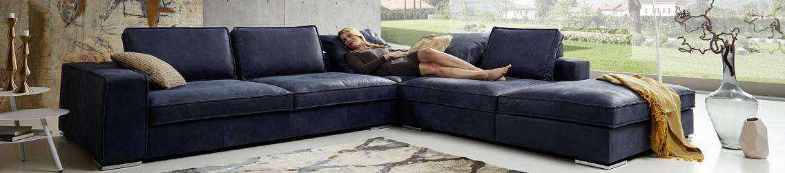 Designer couch stoff  Leder & Stoff Kombination Sofas günstig online kaufen - DeWall ...