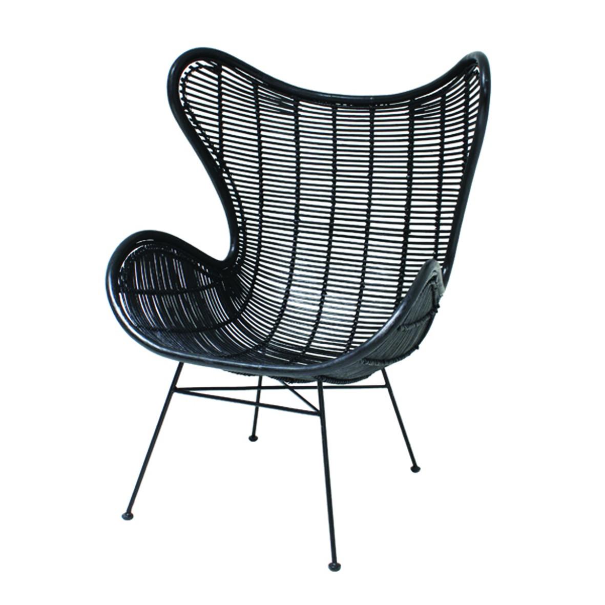 Rattansessel Egg Chair schwarz