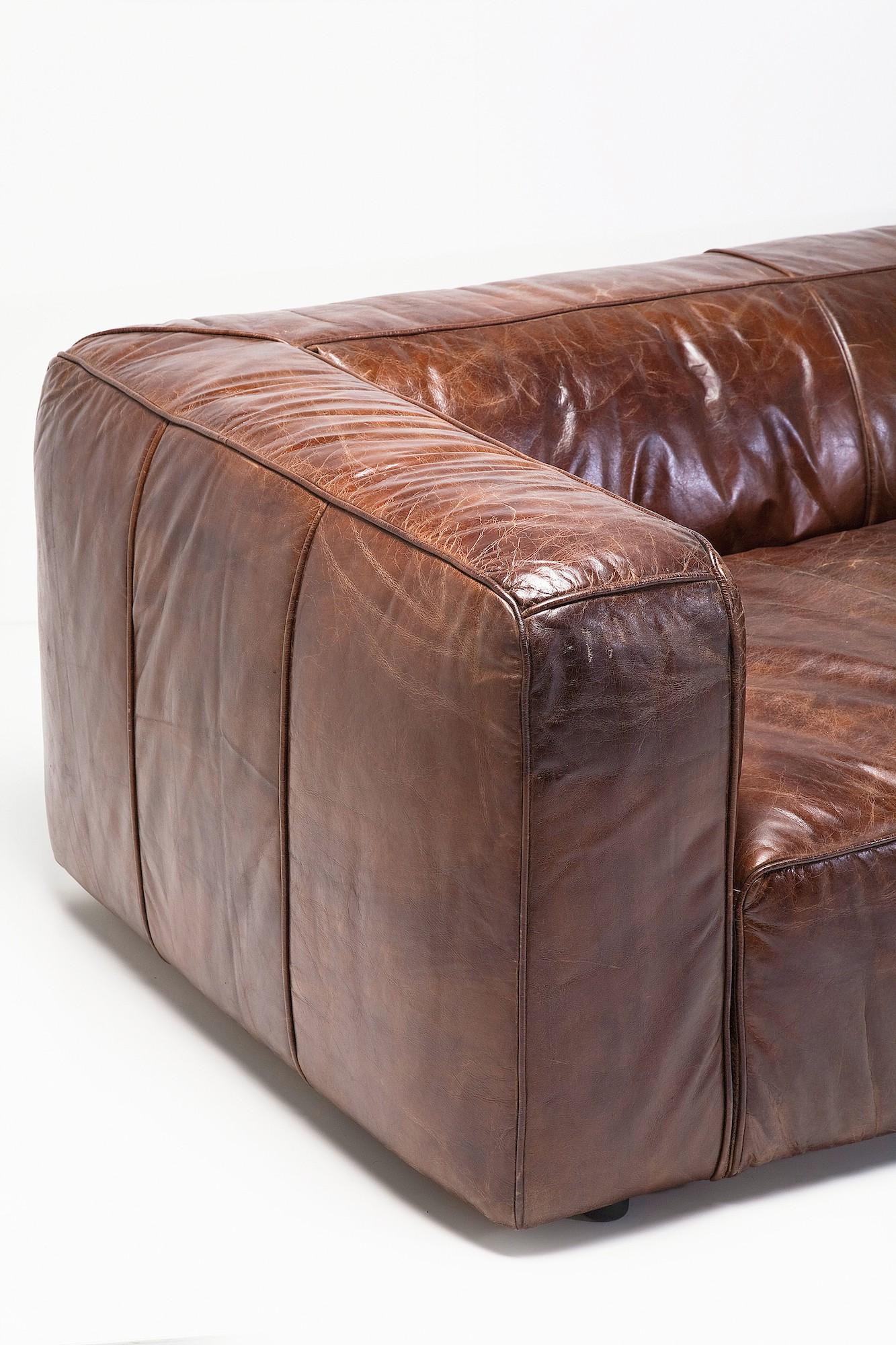 sofa cubetto leder braun. Black Bedroom Furniture Sets. Home Design Ideas