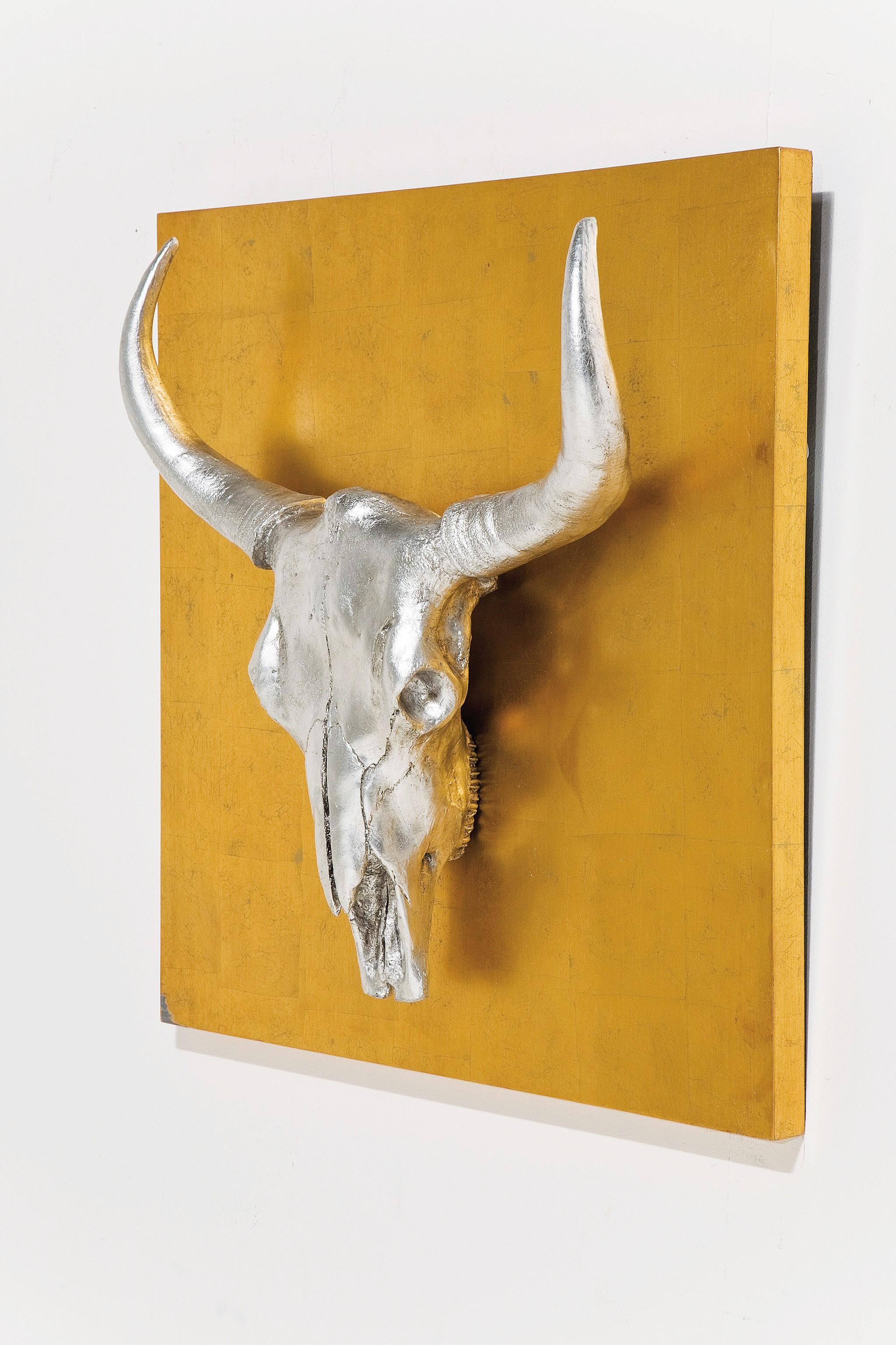 3d bild bison 80x80 cm - Wandschmuck silber ...