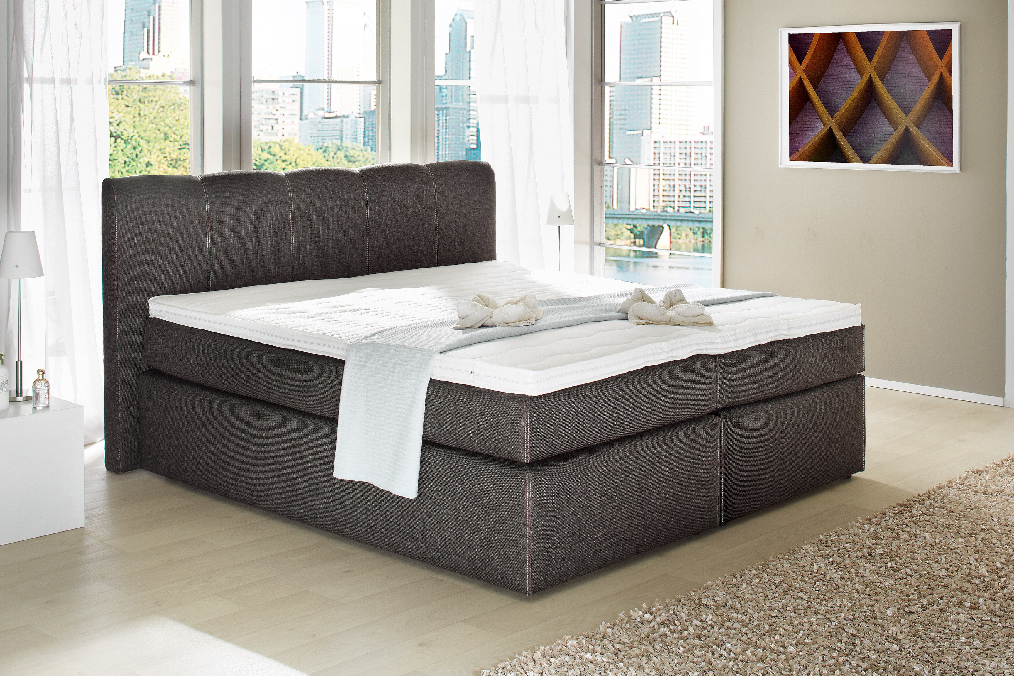 boxspringbett havena 180x200 cm braun. Black Bedroom Furniture Sets. Home Design Ideas